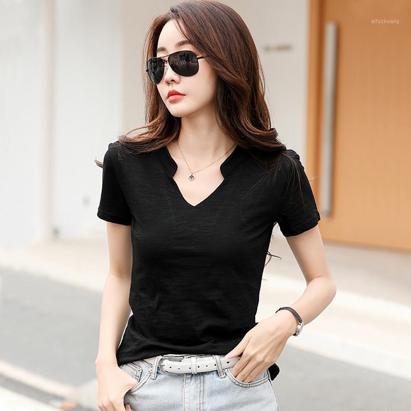 Женская футболка BOBOKATEER PLUS Размер V-образным вырезом Черная футболка для женщин 2021 Летняя футболка Femme Damskie Tshirt Хлопок CamiSetas Mujer1