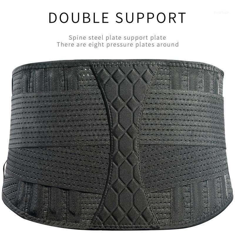 Мужская талия поддержка дышащей фитнес-лифтинг, поднятие талии ремень приседания стальной пластины опоры эластичной задней скобок для спортивной безопасности1