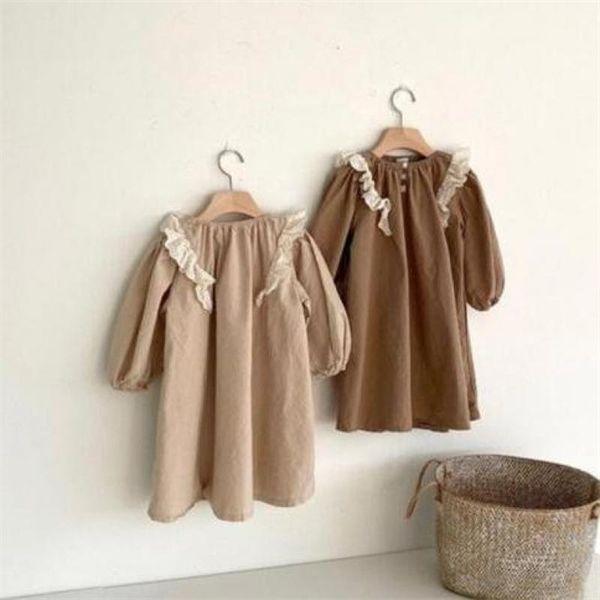 Лицевые хлопковые льняные девушки платье кружева детское платье с длинным рукавом платье принцессы 2020 осень детская одежда одежда наряды W1227