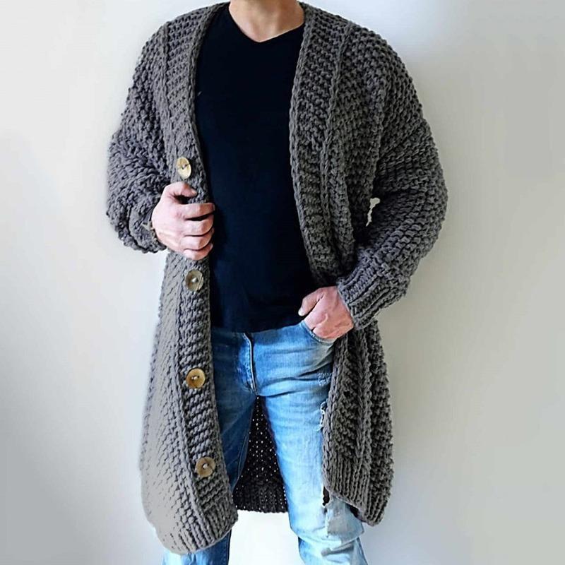 Pulls de cardigans gris de taille plus hommes Spring Spring Automne Casual Casual Single Brotter Tricoté Long Pull Lugentolo