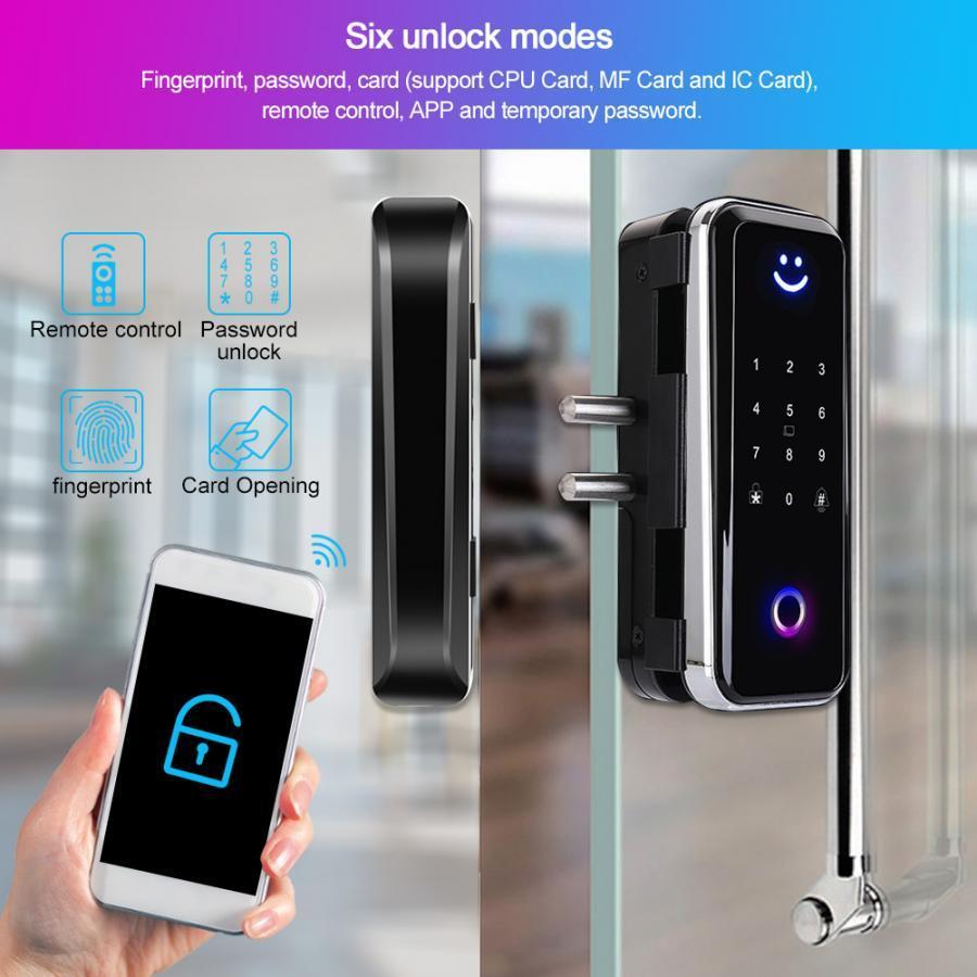 Porte d'empreinte de verre d'empreinte digitale mot de passe carte IC Card Bluetooth APP Appareil d'accès Système de contrôle Cerradura Puerta Verrou de porte intelligente