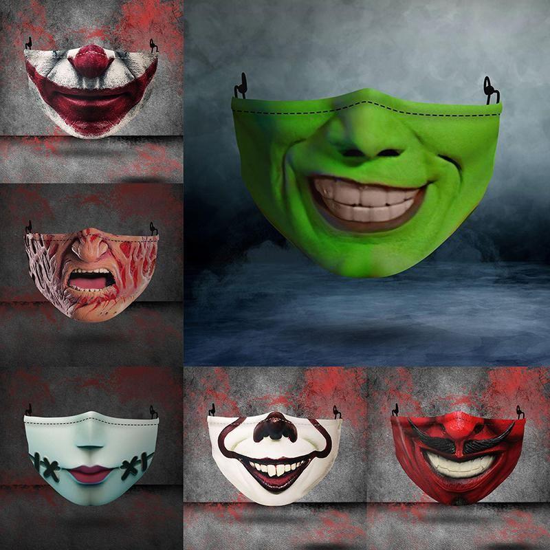 Хэллоуин Дизайнер лица Маски многоразовые 3D Череп Тыква Grimace Cotton Face Mask Дизайнерские маски многоразовые Carbon Washable для взрослых BWB2316