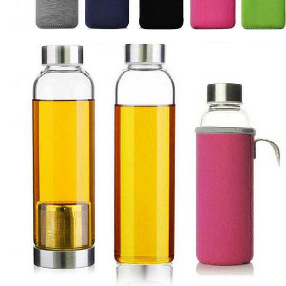420ml 550ml Glass Water Bottle BPA Free High Temperature Resistant Glass Sport Water Bottle With Tea Filter Infuser Bottle Nylon Sleeve