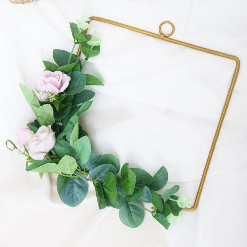 Quadro de aro quadrado geométrico da grinalda floral da flor artificial para a decoração da festa da casa da casa da decoração da parede do contexto do casamento