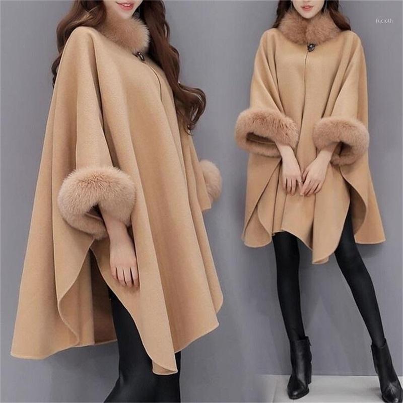 Женская шерстяная смесь 2021 женская зимняя мода свободный Искусственный мех пончо мыс пальто большой воротник шаль плащ кашемировой кашемира Batsleeve Wraps