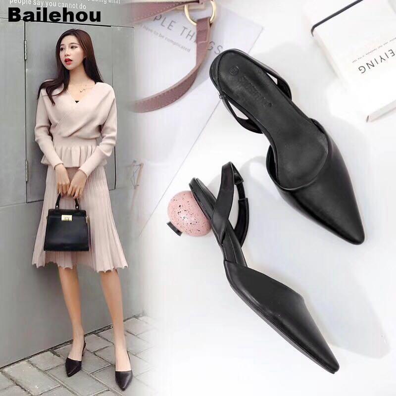 Bailehou Frauen Sandalen Mode Egg Heel Seltsame Stil Sandale Weibliche Punkte Schnalle med Heel Schuhe Büro Dame Slip auf Maultierschuhen1