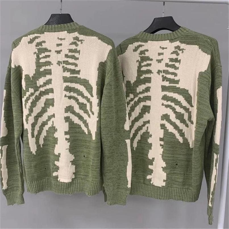 Solta Esqueleto Bone Impressão Kapital Camisola Homens Mulheres Melhor Qualidade Hip-Hop Damage Hole Buraco Vintage Green Knit Pullovers 201221