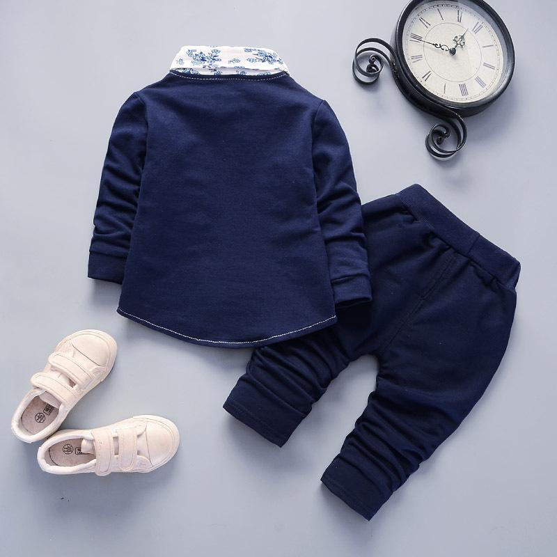 2020 Autumn Baby Boys Girls Cotton Clothes Infant Floral Gentleman Suit Toddler Children Coat Pants 2Pcs/Sets Kids Tracksuits LJ200831