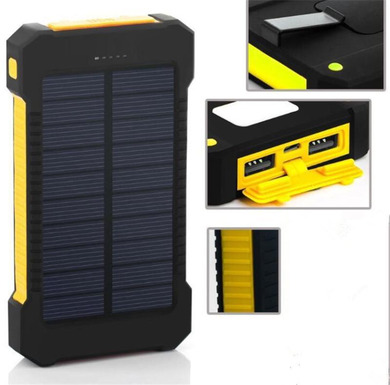 LED 손전등 캠핑 램프와 20000mAh 태양 전원 은행 충전기 더블 헤드 배터리 패널 방수 야외 충전 상자