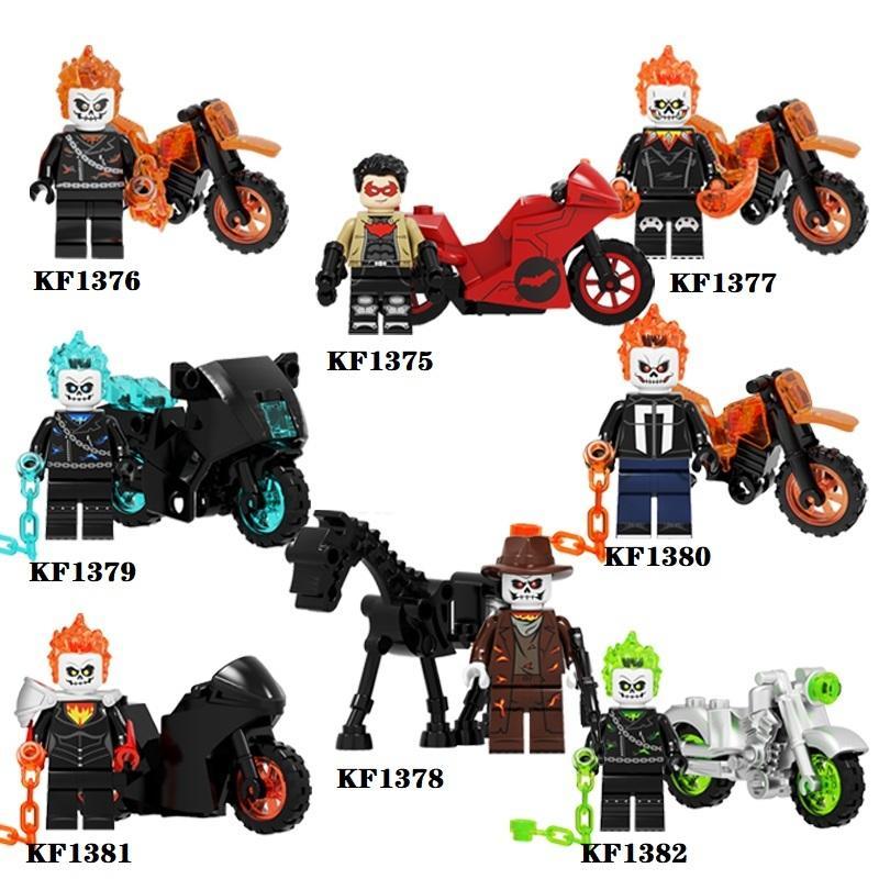 Ghost Rider con il motociclo Building Block Red Hood Action Figures per i bambini Collezione Giocattoli KF6120