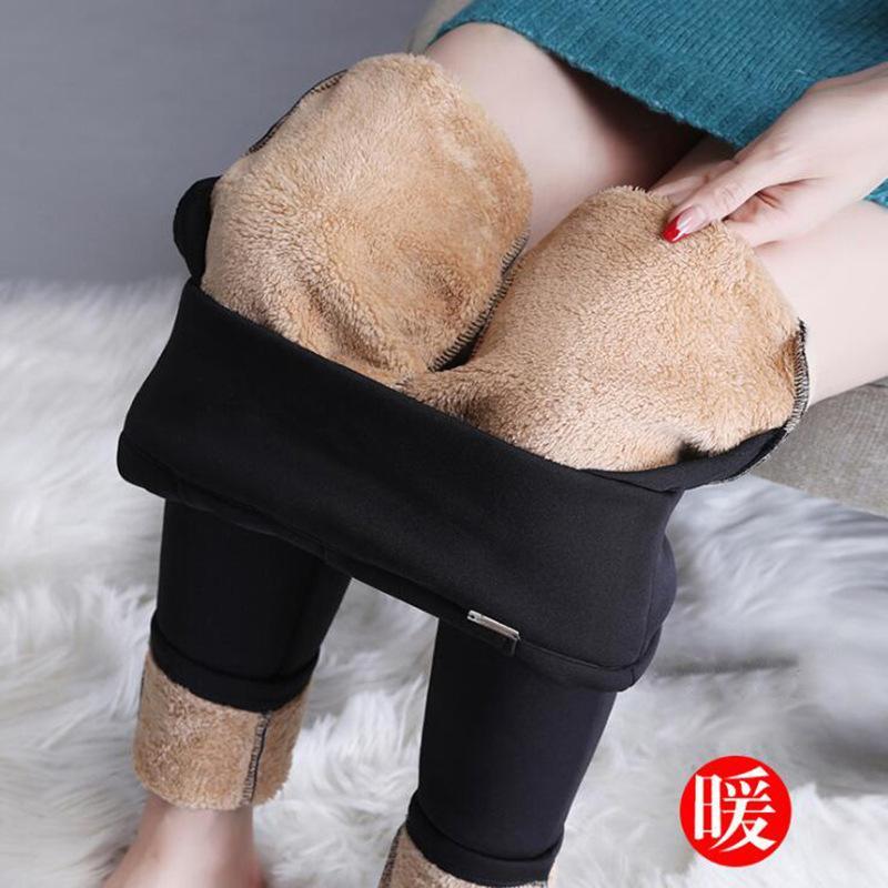 Grande tamanho engrossado cuecas outono e inverno novo wear de pelúcia mulheres elásticas calças quentes finas