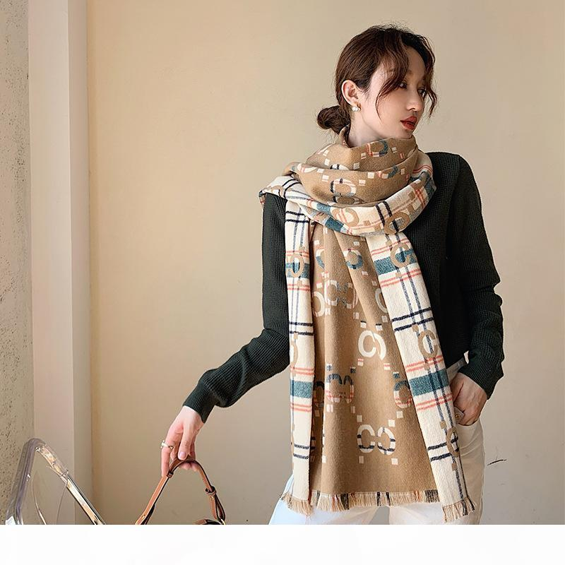 Nouvelle lettre Cachemire Écharpe Mode d'hiver Femmes Double face Chaud Châle Féminine Bufanda Haute Qualité Pashmina Couverture Couverture 2020 C1015