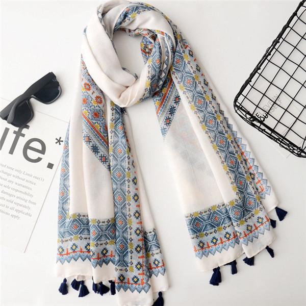 Bohemian ethnic style cotton and linen scarf summer travel suntan shawl photo beach towel a variety of scarves