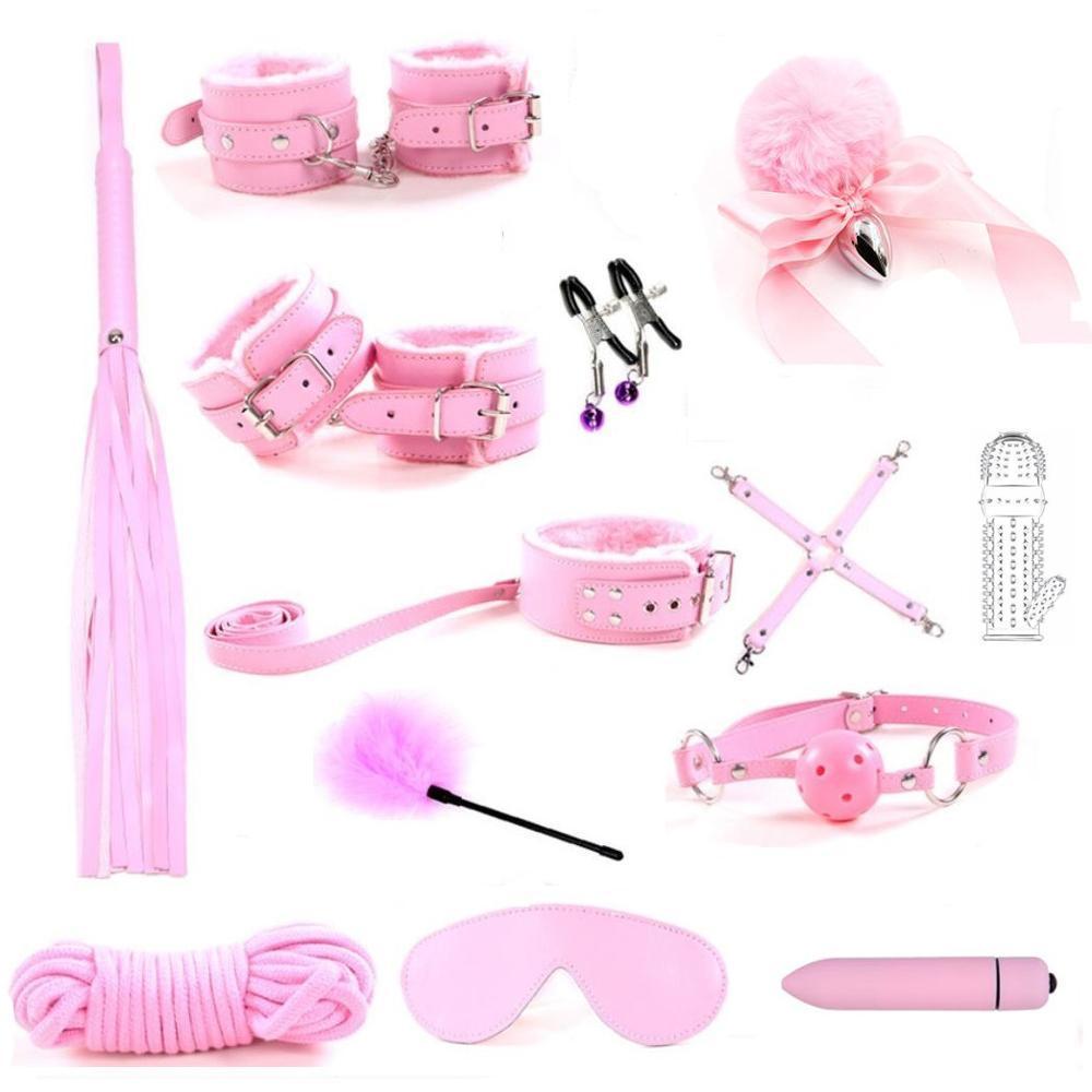 Jouets érotiques pour Jeu d'adulte PU en cuir PU BDSM Kits Sexy Kits Bondage Set Menotcuffs GAG 10 Vitesse Vibromator Nipport Pinces Toys