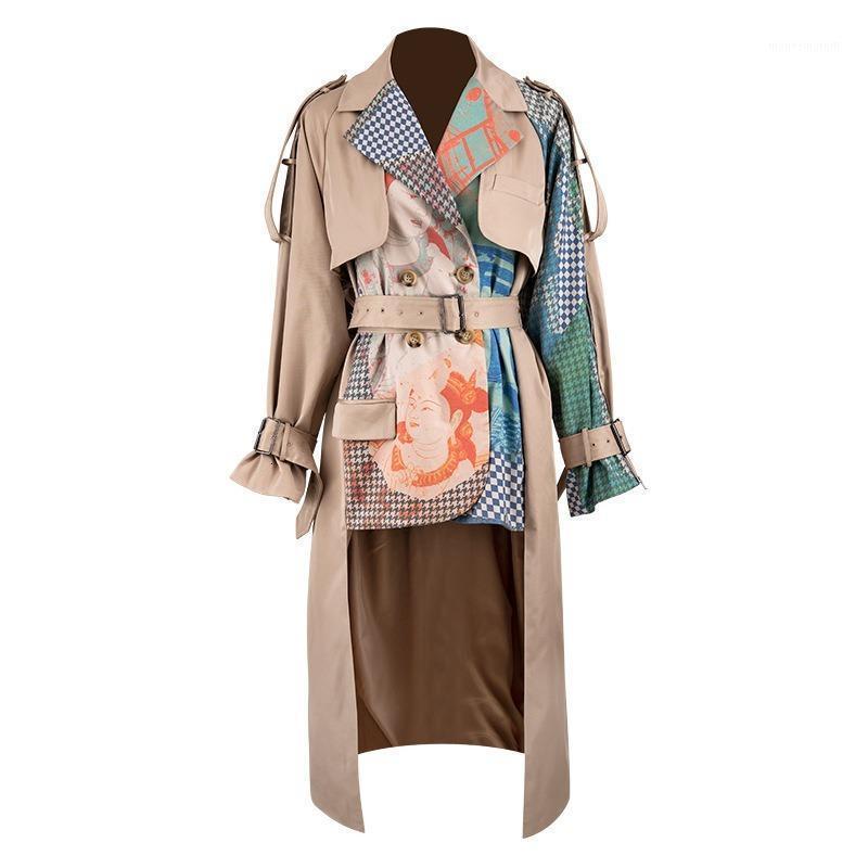 Trenchcoat 2020 Frühling Abzugskragen Full Sleeves Gedruckte Taille Gürtel Splitter Große Größe Windjacke Weibliche Jacke Lange Frauen1