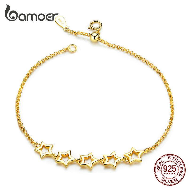 Bracciale bamoer Stelle a catena per le donne dell'oro reale 925 gioielli in argento moda anit-allorgy Regali per Ragazze SCB162 1028