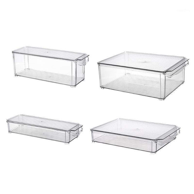 2 팩 - 캐비닛, 냉장고, 냉동고 뚜껑 및 핸들이있는 아크릴 저장 용기 빈 - Organizer1