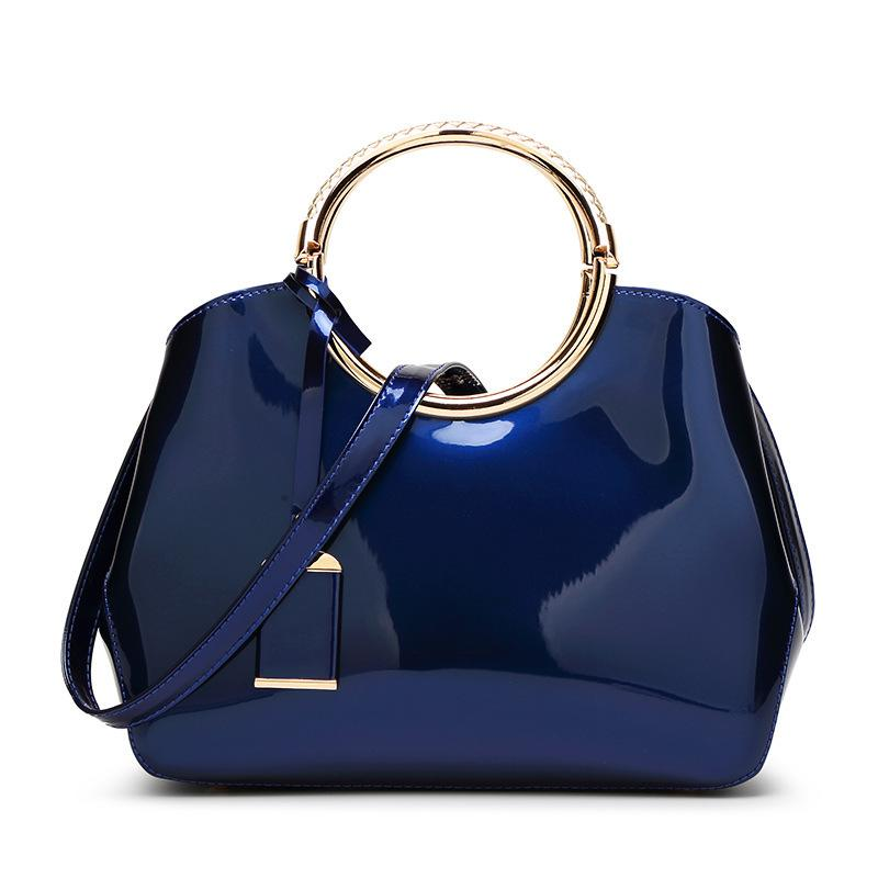Women's Handbags Wholesale Crossbody Shoulder Messenger Square Designer Bags Fashionable and Versatile Glossy Lacquered Leather Bride Bag
