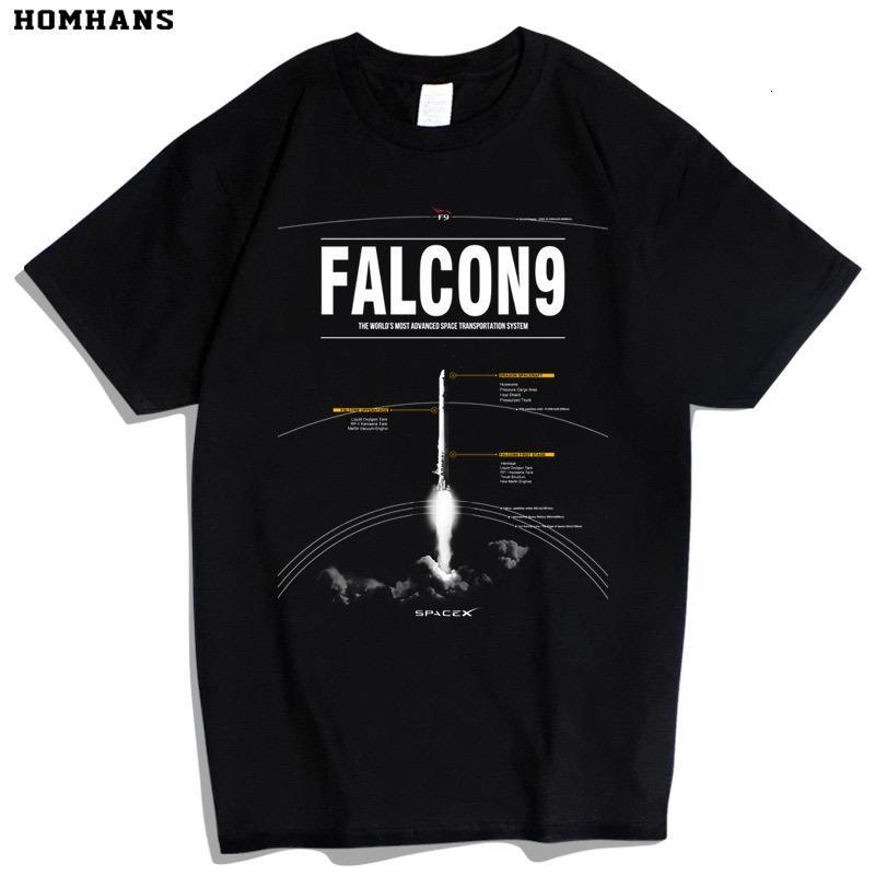 SpaceX Falcon 9 Ракетное пространство Разведка Tesla NASA Астронавт Гик с коротким рукавом Хлопковая футболка
