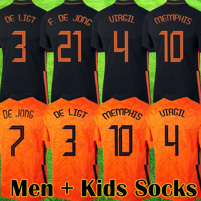 2020 2021 soccer jerseys DE JONG The football kits shirt PROMES 20 21 jersey STROOTMAN MEMPHIS VAN DE BEEK Men + Kids socks sets