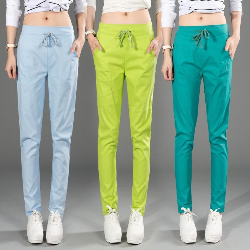 Kadınlar için Harem Pantolon 2020 Yaz Pamuk Keten Şeker Renk Kadın Kalem Pantolon Yüksek Bel Rahat Kadın Capris Pantalon Mujer1