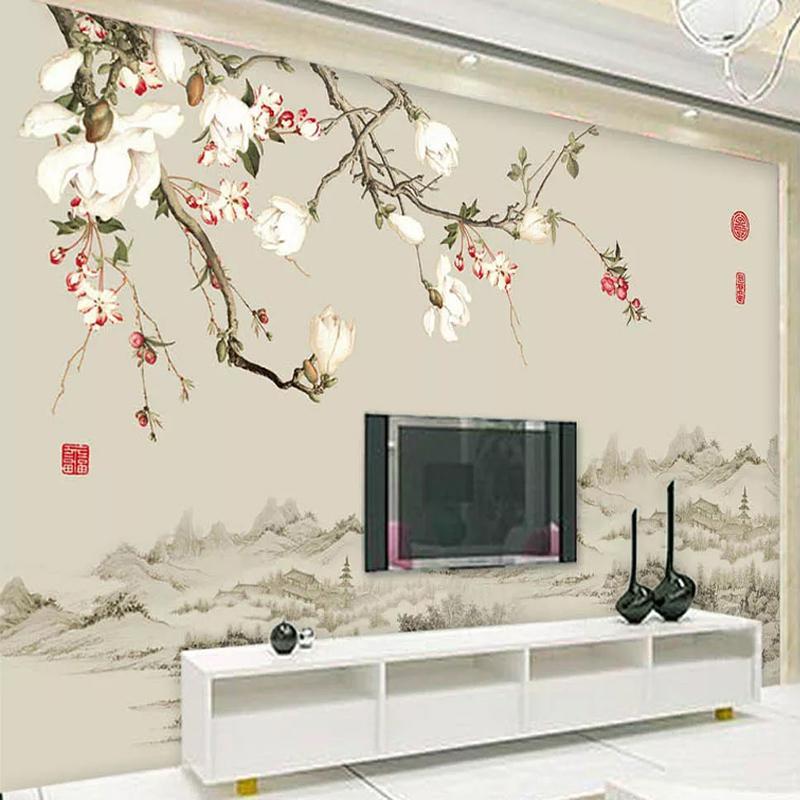 Пользовательские Mural обои Китайский стиль цветок Птица стена Картина Papers Home Decor Гостиная Диван TV Фоновая фотобумагу