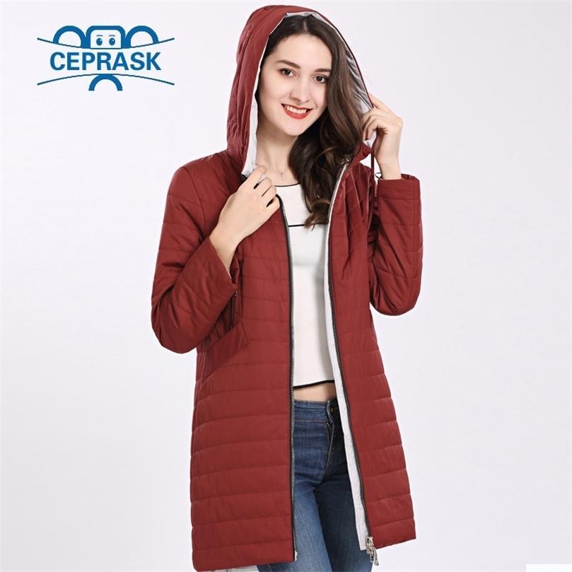 Yeni Yüksek Kalite Kadın Ceket Bahar Autum Rüzgar Geçirmez Ince Kadın Parka Uzun Artı Boyutu Kapşonlu Sıcak Pamuk Ceketler Ceprask 201212