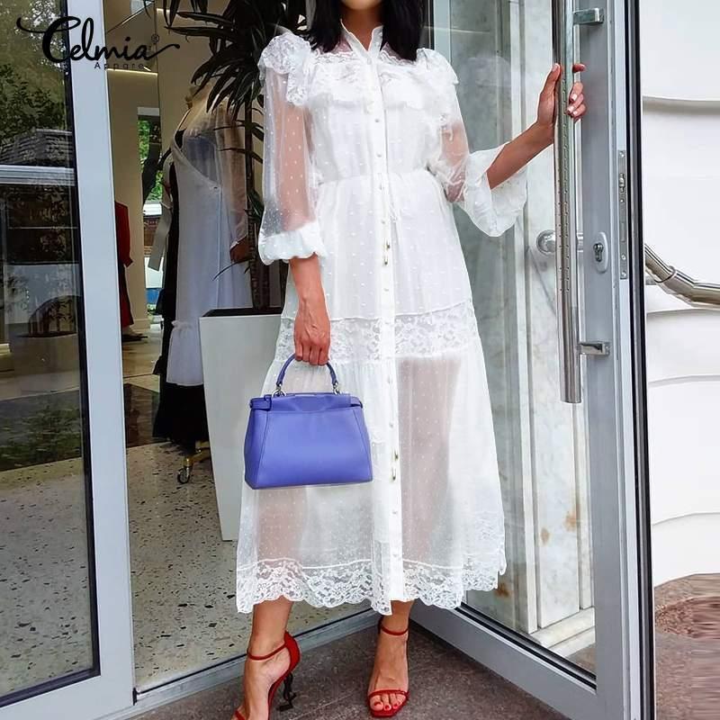 Celmia Мода Прозрачный партии Длинные платья женщин лета пляжа платья с длинным рукавом Cover Up Тюль Кружево Сексуальное платье Повседневный Robe