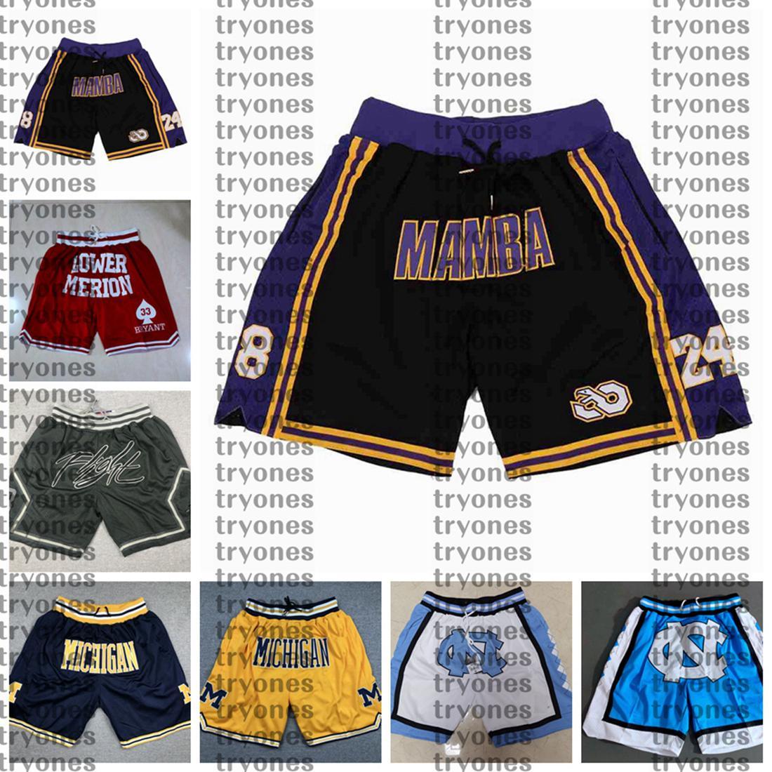 NCAA Black Mamba Bryant Alt Merion Lisesi Cep Basketbol Kısa Michigan Wolverines Sadece Koleji Don North Carolina Tar Topuklu