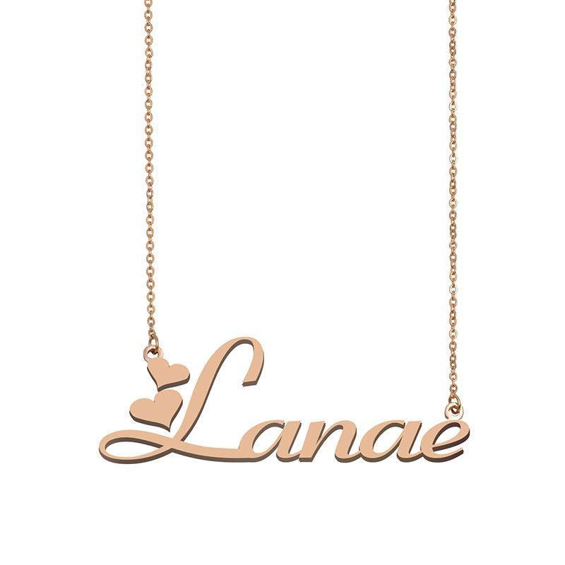 LANAE Name Halsketten Anhänger Sonderanfertigung Personifiziert Für Frauen Mädchen Kinder Beste Freunde Mütter Geschenke 18K vergoldetem Edelstahl