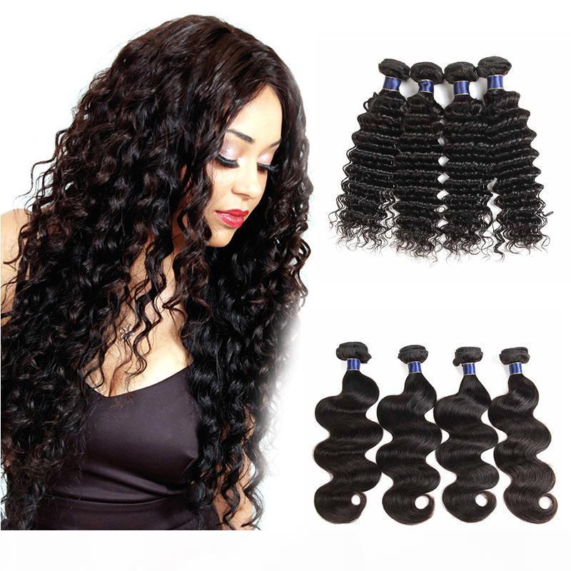 Nuevo Llegada India Virgin Hair Tejido Onda Profunda Onda Cuerpo Sin procesar Indio Human Hair Weave Extensions Bundles Wave Wave 4pcs Lot