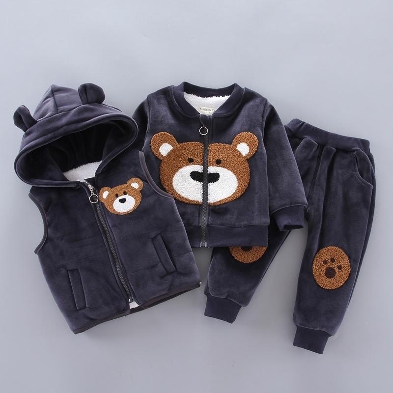 Baby Boys Girls Girls Set Inverno Fleece Crianças Cartoon Urso Hoodie Outerwear Outfits Crianças Crianças Quente Traje Quente Terno 201266