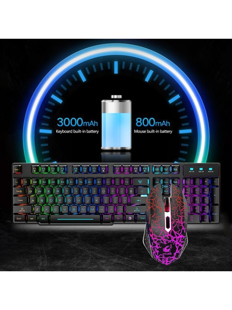 2.4g Tastiera di gioco wireless e mouse con tastiera colorata LED Light Keypad Q81E