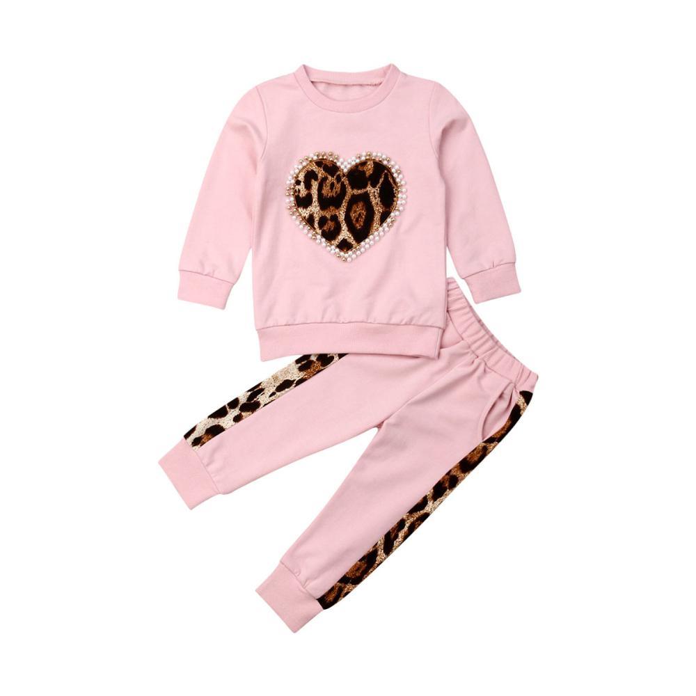 Малыш малыш ребёнок зимняя одежда наборы с длинным рукавом леопардовые топы длинные брюки одежда трексуиит Y200831