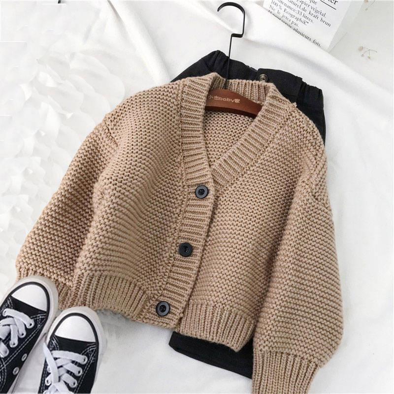 INS Hot Baby Boy Boys and Girls Cardigan Sweater Coat Sweater Kids Single Breasted Outwear Niña Niña Suéter 2 Colores 201201