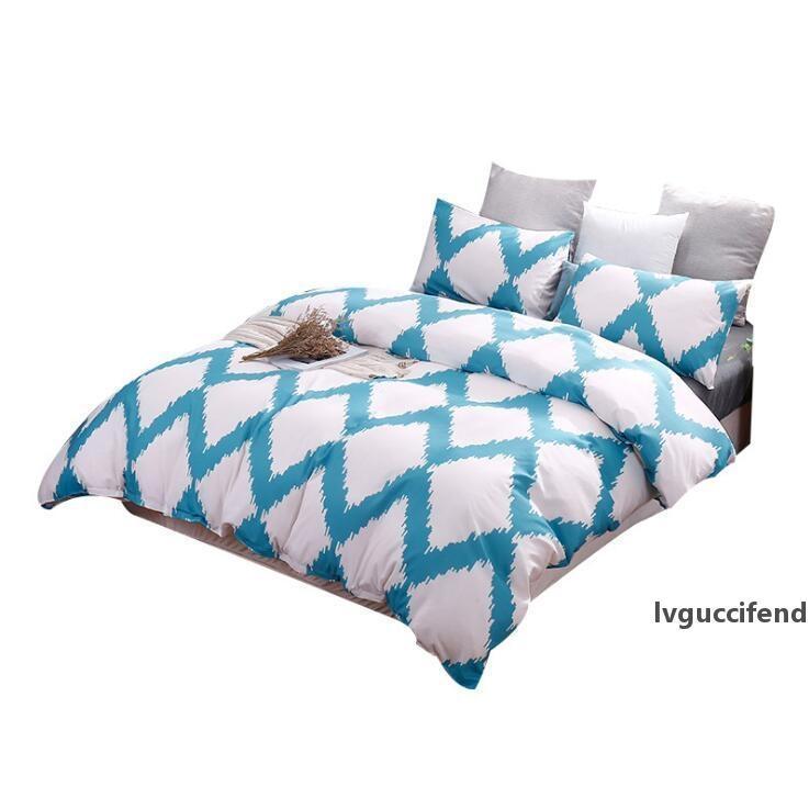 Nordic formato degli Stati Uniti Bedding Duvet Cover Set di 3 pezzi comodi molli Quilt Cover federa Set solido di colore di nuovo al banco a due letti queen King Size