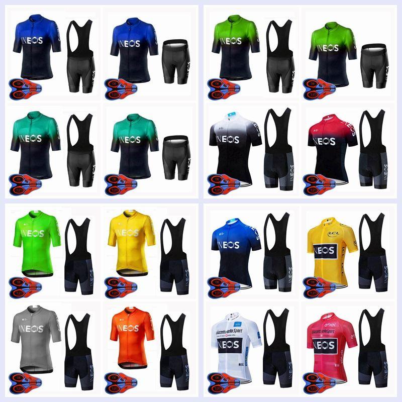 2020 Nova Equipe Ineos Verão Ciclismo Jersey Bib Shorts Conjunto Homens Bicicleta Outfits Respirável Bicicleta Manga Curta Terno Racing Roupas Y20061204