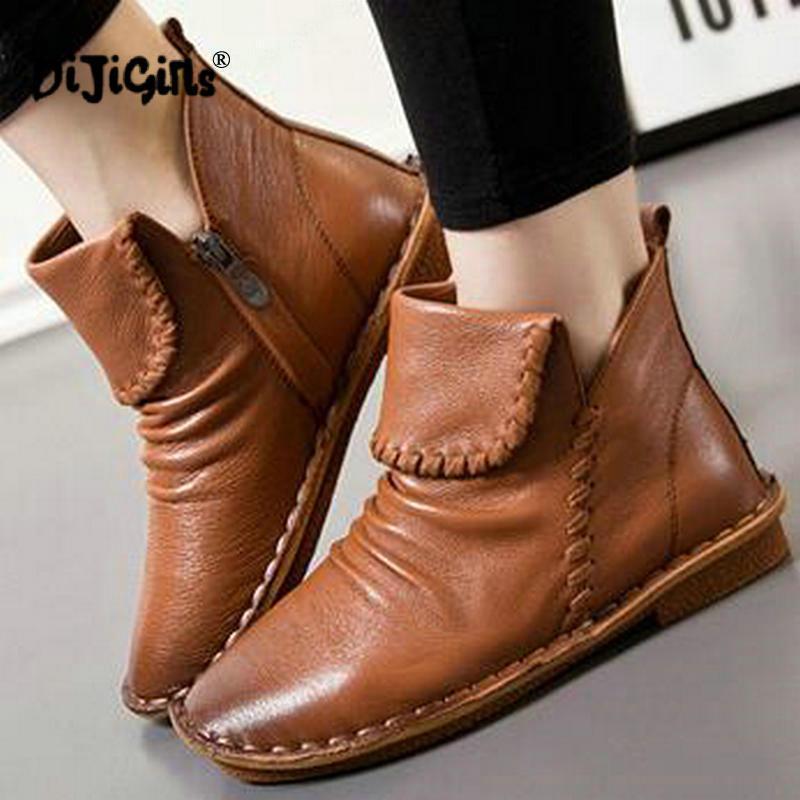 Натуральная кожа женщин сапоги Мода Zipper ручной работы Круглые Toes низком каблуке ботильоны обувь