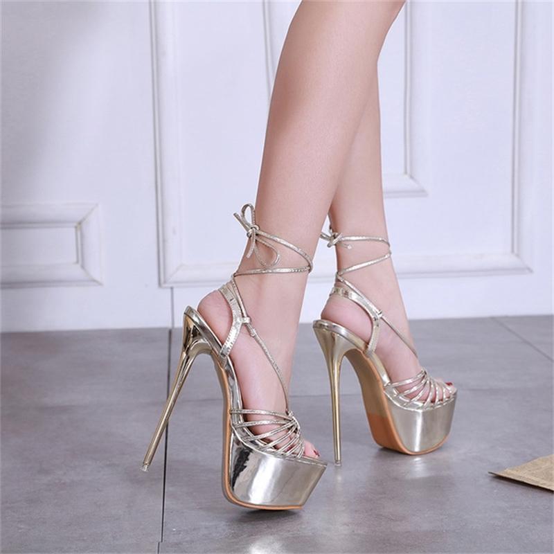 2019 neue sandalen frauen ferled sandalen sexy bandage knöchelriemen pumpen super high heels 17 cm wasserdichte plattform dame schuhe gold t200730