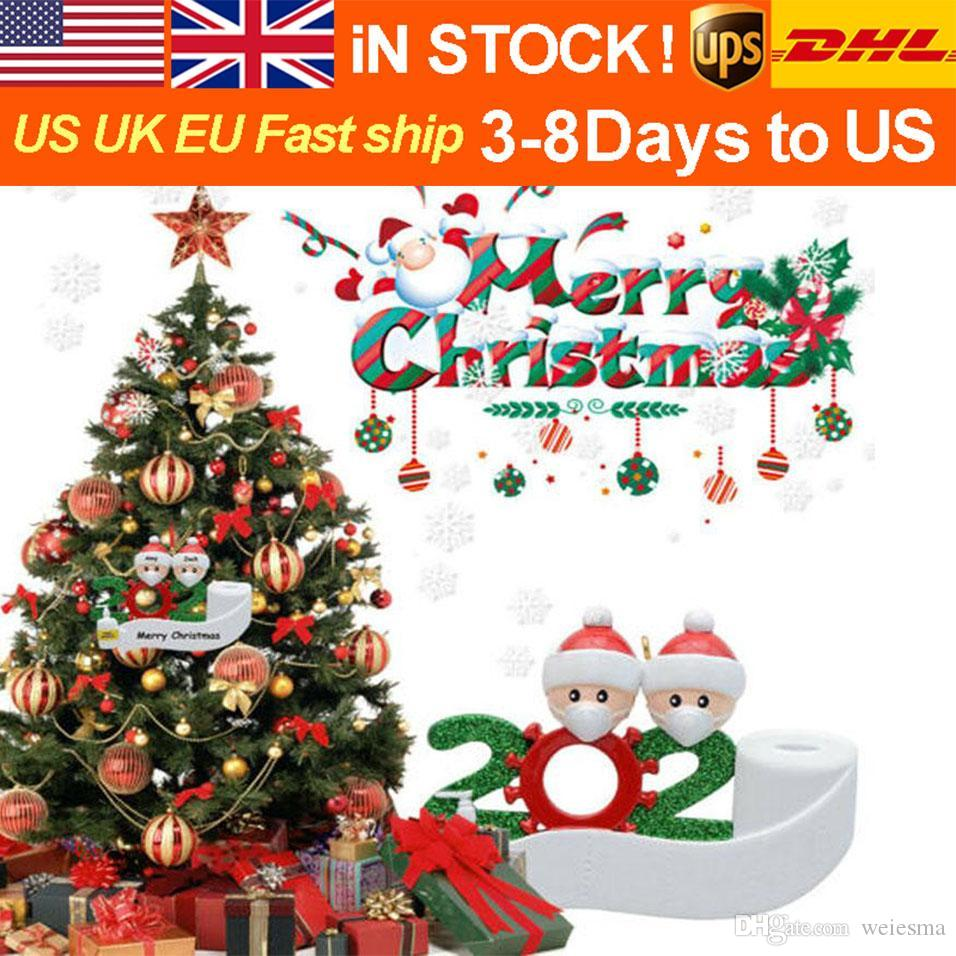 2020 Christmas Ornament fashion Santa DIY name blessing words PVC gift Christmas Tree Decoration With Face Masks Hand Sanitized