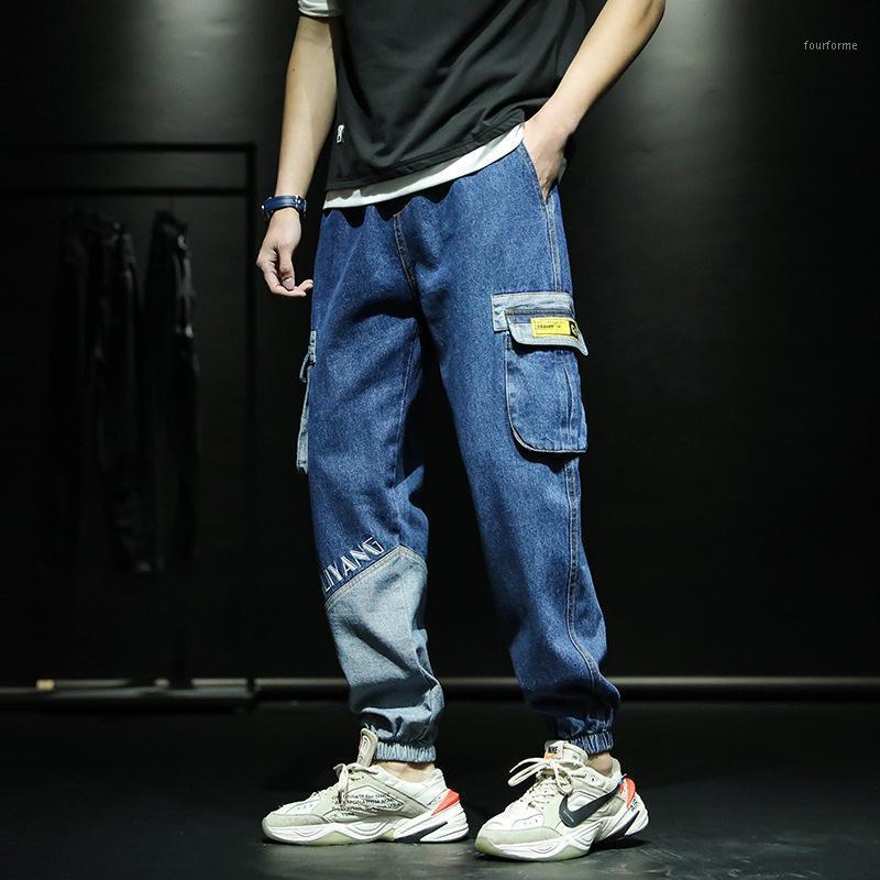 Мужские джинсы 2021 осень модные моды мужские мульти-карманные грузы Charge Classic классические брюки хип-хоп бизнес случайные цветные блок длинные штаны1