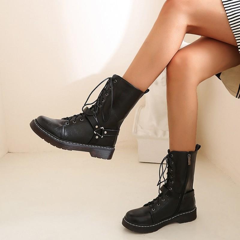 Mujeres botas de cuero moda remache tacones altos zapatos de invierno encaje de invierno tobillo botines redondos punta motocicleta femenino zapatos1