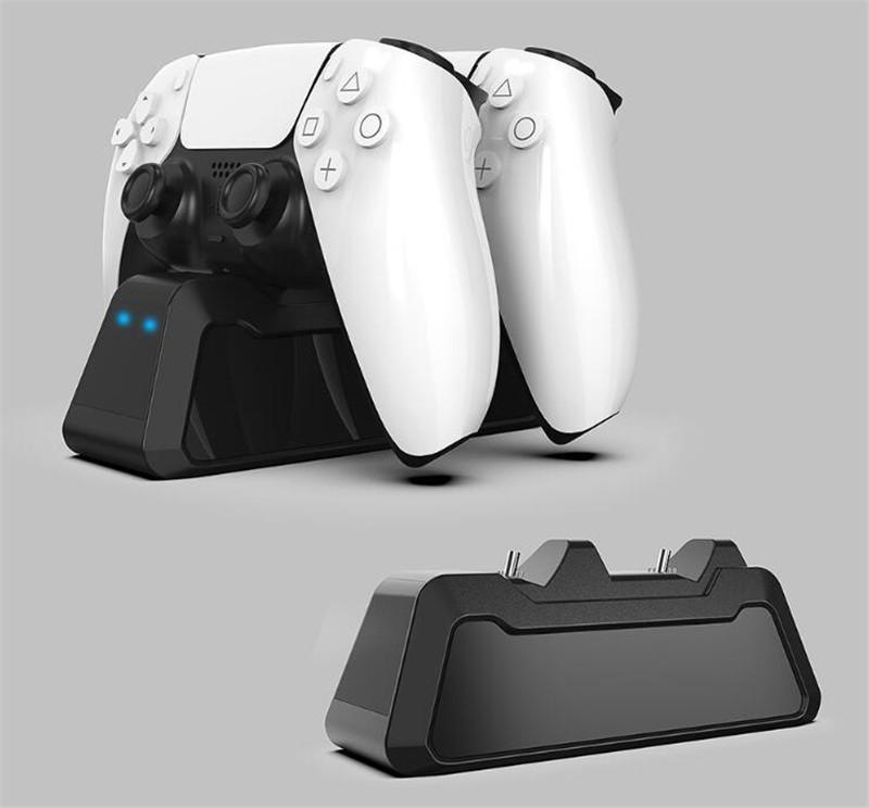 Двойное зарядное устройство для зарядных устройств для PS5 беспроводной игровой контроллер LED Super Sight Magnetic PlayStation 5 Slim Pro Mini USB-порт