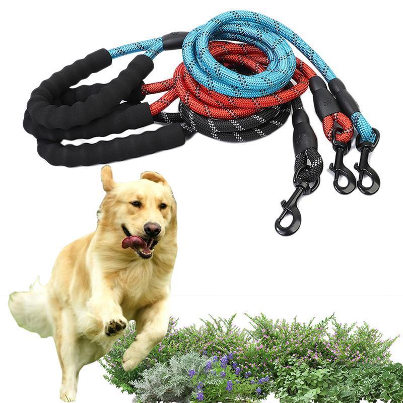 Forniture per animali domestici riflettente multicolor corda rotonda in nylon trazione collare guinzaglio cane catena catena per cani da cane comodo grande cane