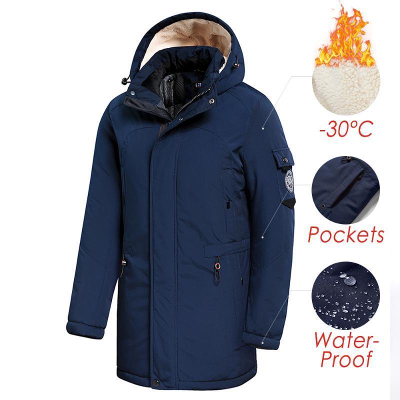 남자 2020 겨울 새로운 캐주얼 긴 두꺼운 양털 후드 방수 파카 자켓 코트 남성 착실히 보내다 패션 파카 자켓 46-58을 포켓