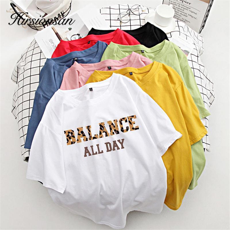 Женская футболка Hirsionans 100% хлопок 7 Цвета Летние Женщины футболка с коротким рукавом Леопардовый Письмо Печать Женская Мягкая Верхняя Джим Шаблон M-X