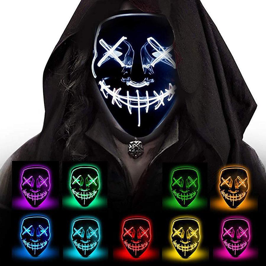 Halloween Horror маска LED Светящиеся маски Purge Маска Выборы Тушь Костюм DJ Party Light Up Маска Glow В Dark 10 цветов Быстрая доставка