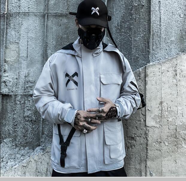 Dark Black Grey Reflective CHAQUETAS CHAQUETAS DE CAJA DE CABRADORES STREETWEAR TÁCTICA FUNCIÓN TÁCTICA PULSOUSO MULTILING HOODY Abrigos de rompevientos
