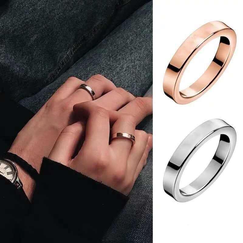 التيتانيوم حلقات الفولاذ المقاوم للصدأ للنساء الرجال مجوهرات الأزواج مكعب زركونيا الذهب والفضة روز الذهب خواتم عاشق هدية
