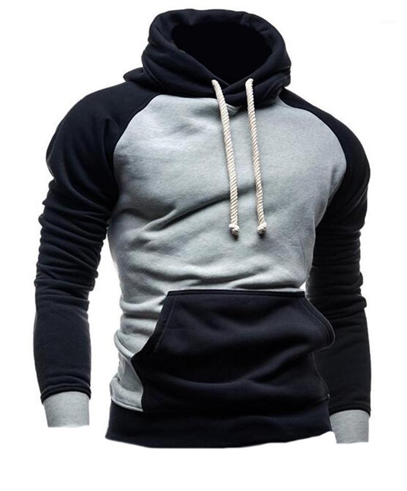 Atacado- XQS Mens Moda Cor Blocos Slim Fit Pullover Moletom Com Capuz1
